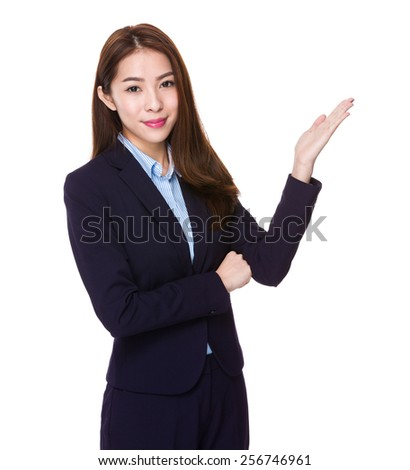 Business woman with hand presentation