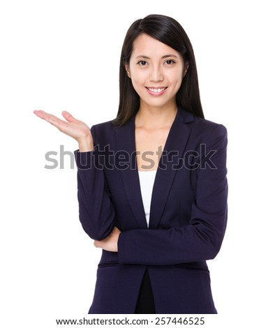 Business woman with hand show with blank sign
