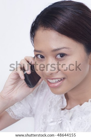 business woman with handphone - stock photo