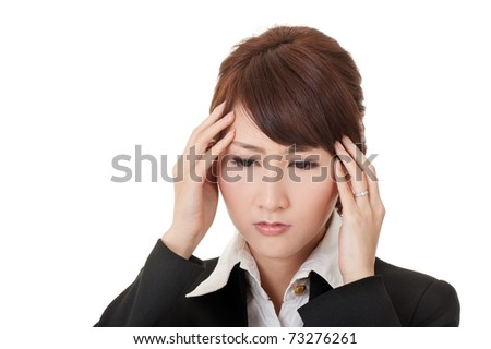 Business woman with headache, closeup portrait on white background.