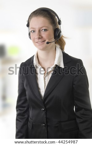 Business woman with headphone