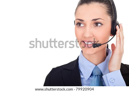 business woman with headset, call-center representative, isolated over a white background - stock photo