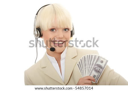 Business woman with headset holding dollars - stock photo
