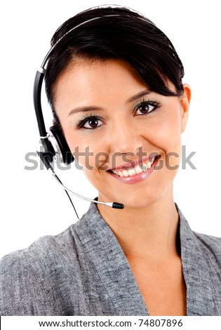 Business woman with headset - isolated over a white background - stock photo