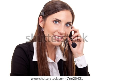 business woman with headset, isolated over a white background - stock photo