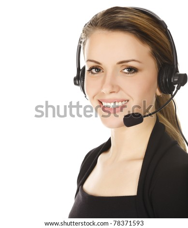 Business woman with headset - isolated over a white background. - stock photo