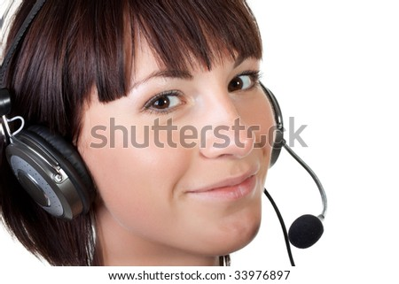 Business woman with headset on a white background