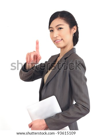 business woman with her fingers pointing. - stock photo