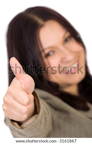 business woman with her thumbs up smiling over a white background