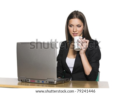 business woman with laptop and coffee - stock photo