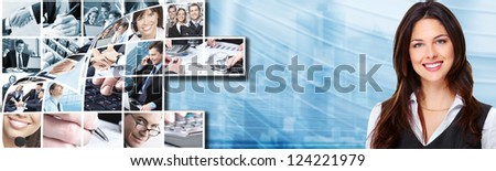 Business woman with laptop, computer over blue background. - stock photo