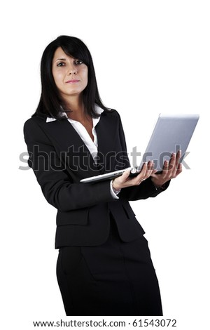 Business woman with laptop on white background - stock photo