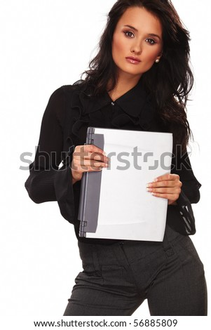Business Woman with laptop standing on white background