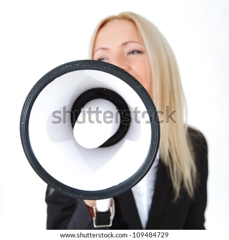 business woman with megaphone isolated white background - stock photo