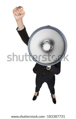 Business woman with megaphone yelling and screaming isolated on white background