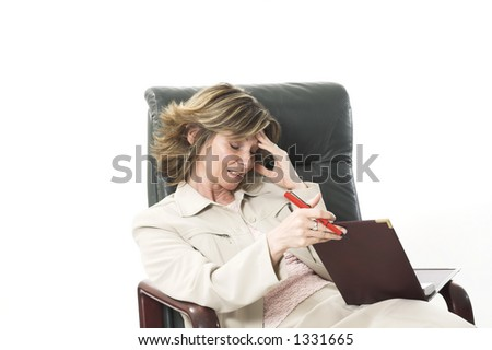 business woman with migraine over white