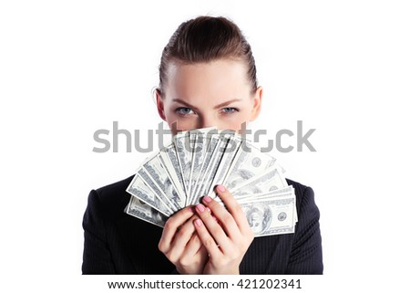 Business woman with money - stock photo