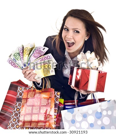 Business woman with money, gift, box, bag. Isolated. - stock photo