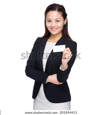 Business woman with name card - stock photo