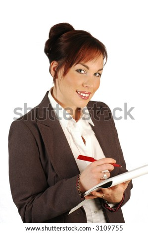 Business woman with notepad