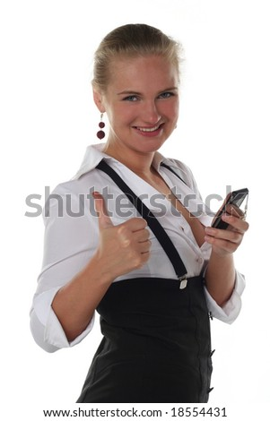 business woman with ok gesture and mobile phone