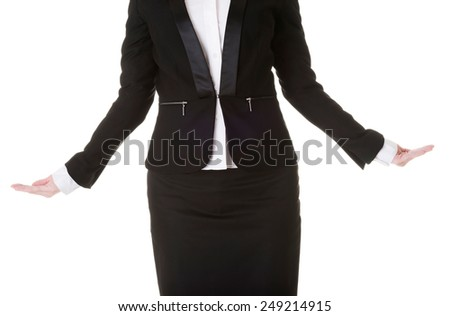 Business woman with open hands to present copyspace.