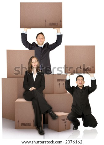 business woman with packed cardboard boxes and two men over a white background