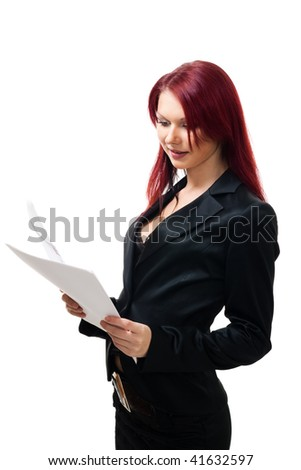 business woman with papers - stock photo