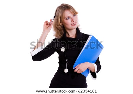Business woman with pen. - stock photo