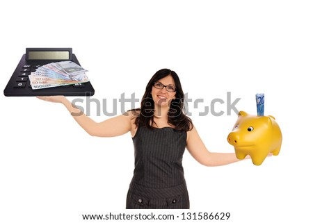 Business woman with piggy bank and calculator / finances - stock photo