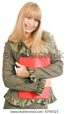 business woman with red folder - stock photo