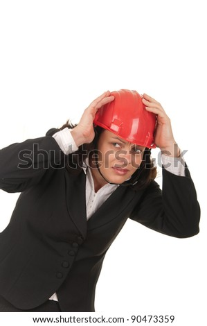 Business woman with red helmet, isolated on white