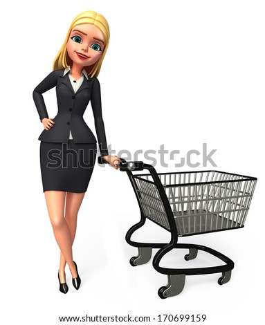 Business woman with shopping trolley