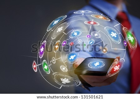 Business woman with smartphone accessing applications - with copy space - stock photo