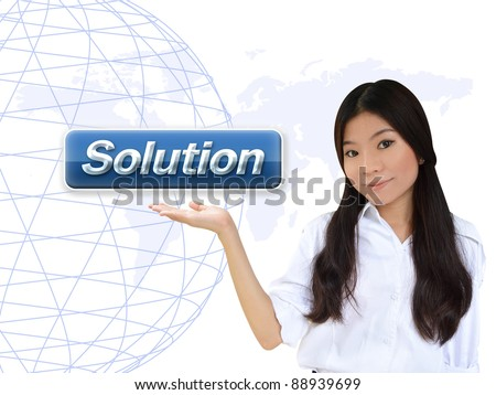 Business woman with solution button - stock photo