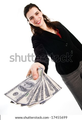 business woman with some money cash in her hand - stock photo