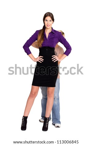 Business woman with stylist - stock photo