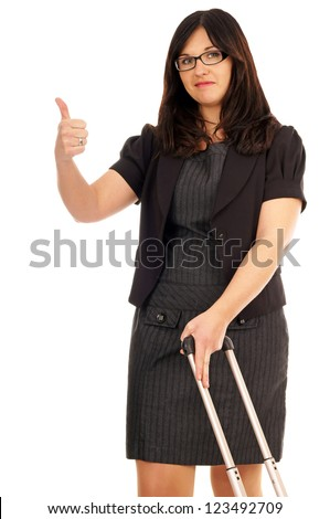 Business woman with suitcase and thumbs up / Business woman - stock photo
