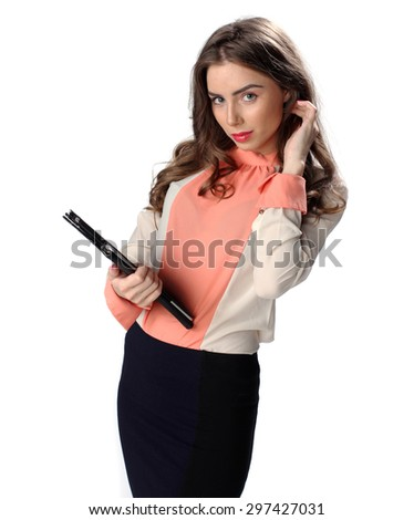 Business woman with tablet computer isolated on white - stock photo