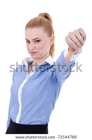business woman with thumb down gesture, isolated on white - stock photo
