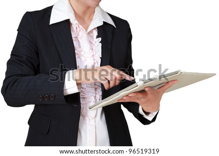 Business woman with touch pad computer, Isolated on white - stock photo