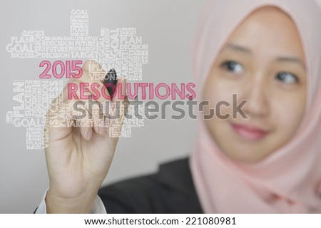 Business woman with virtual interface of 2015 Resolutions wordcloud - stock photo
