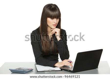 Business woman working at laptop at the office desk, isolated on white background