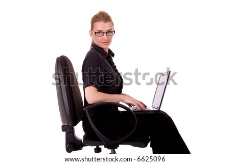 Business woman working by laptop. - stock photo