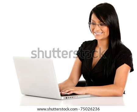 Business woman working on a laptop computer ? isolated - stock photo