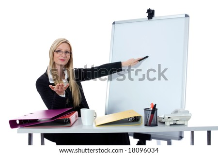business woman  working on isolated background