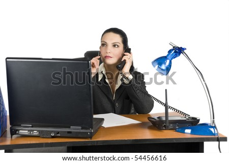 Business woman working on laptop at office - stock photo