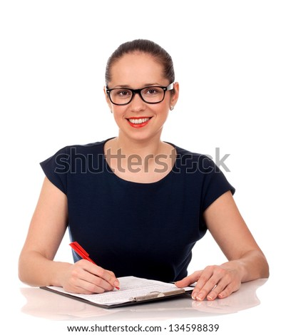 Business woman working with documents - stock photo