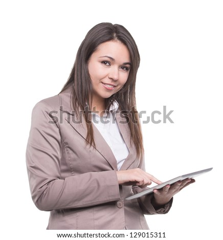 Business woman working with tablet. Isolated on white background - stock photo