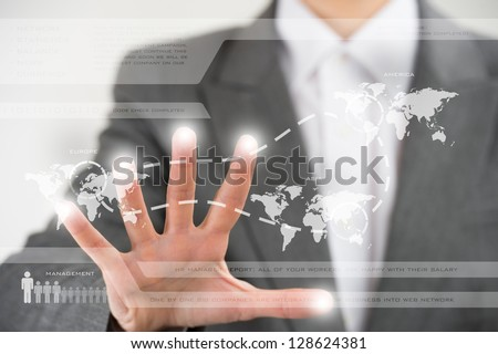 Business woman working with virtual interface. Globalization and technology concept - stock photo